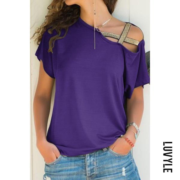 Purple Asymmetric Neck Casual Plain T-Shirts Purple Asymmetric Neck Casual Plain T-Shirts
