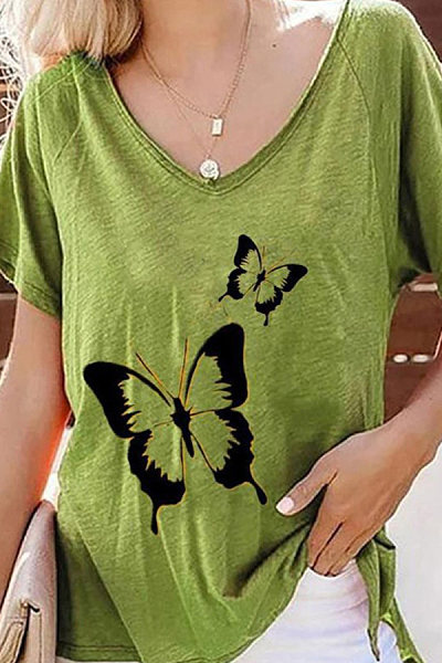 V Neck Butterfly Print Short Sleeve T-shirt