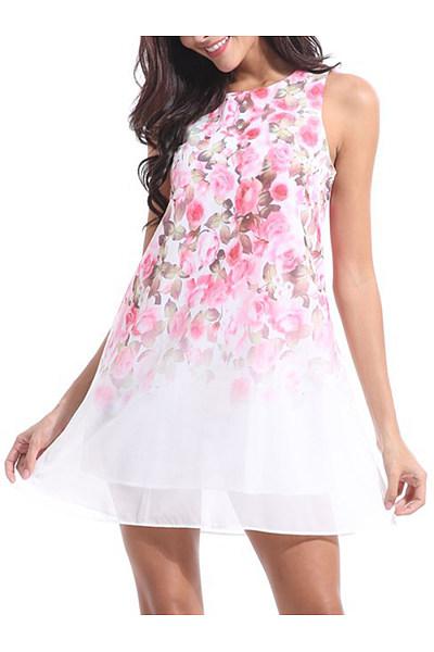 Round Neck  Print  Sleeveless Casual Dresses