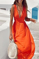 Deep V-Neck  Patchwork  Plain  Patchwork Maxi Dresses
