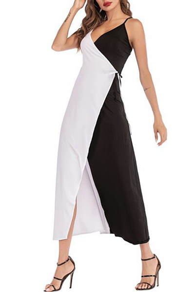 Spaghetti Strap  Asymmetric Hem Patchwork  Patchwork Plain  Sleeveless Maxi Dresses