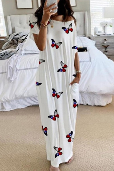 Round Neck Short Sleeve Cartoon Printed Maxi Dress