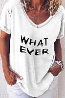 V Neck  Letters T-Shirts
