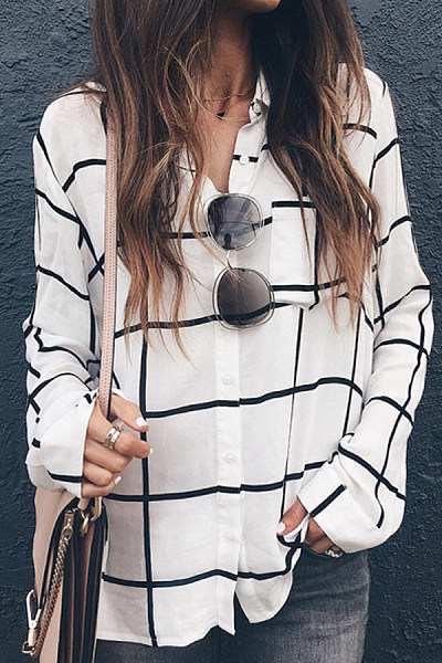 A Lapel Plaid Long Sleeve Blouse