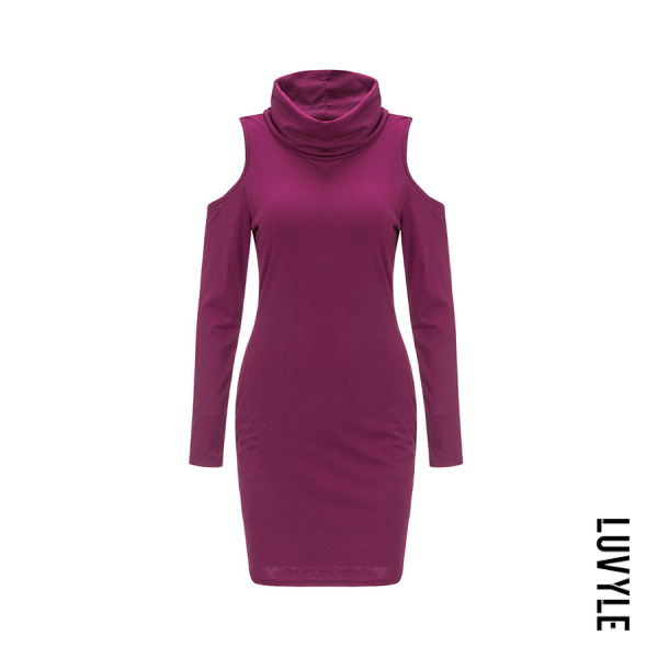 Purple Cowl Neck Cutout Plain Bodycon Dresses Purple Cowl Neck Cutout Plain Bodycon Dresses