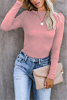 Brief Pure Color Long Sleeve Round Neck T-Shirt