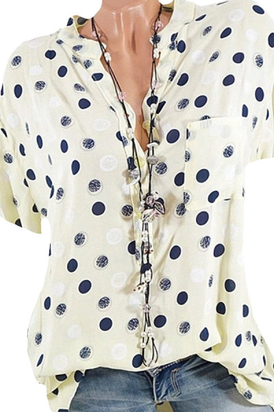 Loose Fitting Short Sleeve Polka Dot Blouses
