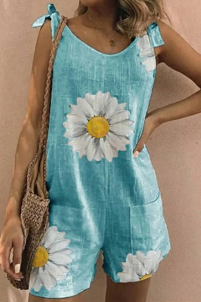 Daisy Printed Bow Knot Jumpsuit