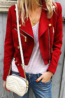 Fashion Lapel Solid Color Metal Zipper Button Short Long Sleeve Jacket