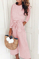 Round Neck  Striped  Long Sleeve Jumpsuits