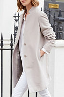 Band Collar  Single Breasted  Plain Outerwear