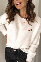 Women's Fashion Round Neck Heart Embroidered Sweater