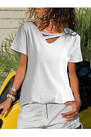 Casual V Neck Splicing Short Sleeve Pure Colour T-Shirt