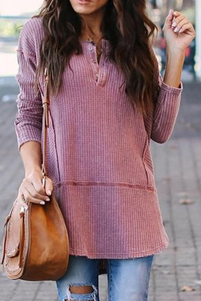 Casual Round Neck Long Sleeve Plain T-Shirt