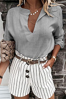 V Neck Solid Color Blouse