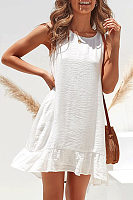 Casual Round Collar Sleeveless Plain Slim Dress
