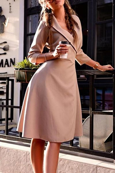 V Neck  Plain  Three Quarter Sleeve Skater Dresses