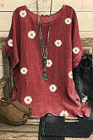 Round Neck Flower Print Loose Fitting Short Sleeve Linen T-shirt