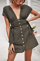 Sexy V-Neck Buttons For A Belted Dress