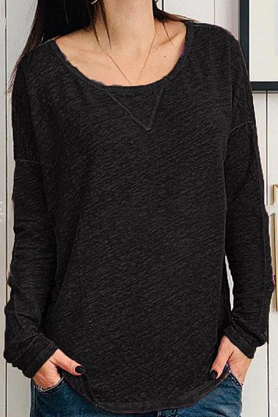 Casual Round Neck Long Sleeve Plain T-Shirt