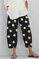 Daisy printed harem belt pocket pants