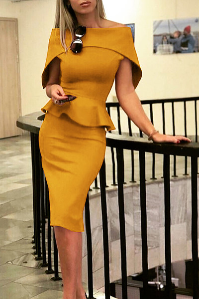 Off Shoulder  Plain  Short Sleeve Bodycon Dresses