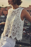 Round Neck Sleeveless Lace Blouses