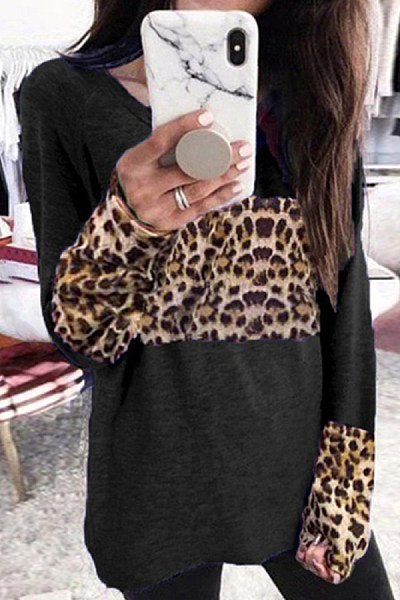 Casual Fashion Leopard Splicing Long Sleeve T-Shirt