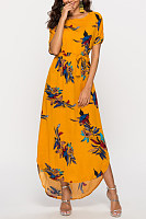 Round Neck  Asymmetric Hem Side Slit  Belt Belt Loops  Print  Half Sleeve Maxi Dresses