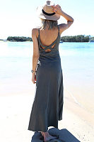 Spaghetti Strap  Backless Cross Straps  Plain  Sleeveless Maxi Dresses