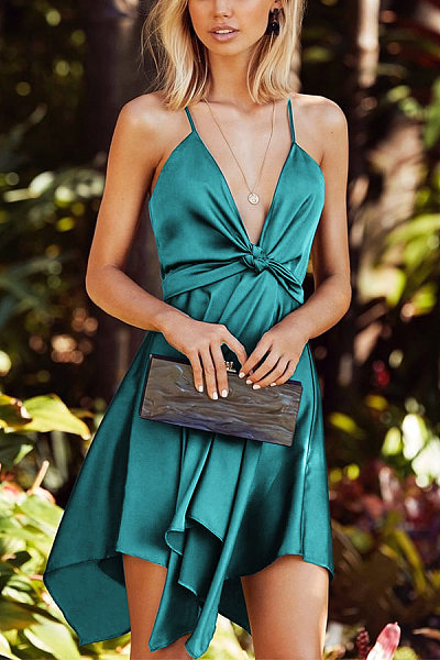 Sexy Sling Deep V Pure Color Satin Irregular Hem Lace Dress