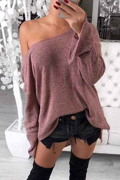 Casual Low Round Neck Side Slit Long Sleeve T-Shirt