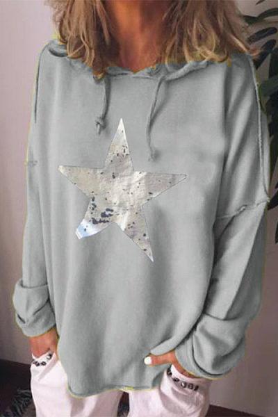 Casual printed hooded long sleeve hoody