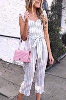 Spaghetti Strap  Decorative Buttons  Striped  Sleeveless Jumpsuits