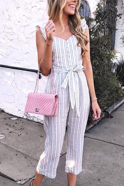 Spaghetti Strap  Decorative Buttons  Striped  Sleeveless Jumpsuits
