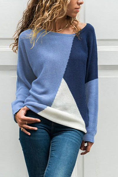 Round Neck  Patchwork Sweaters