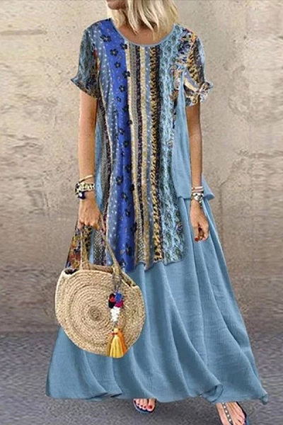 bohemian printed patchwork short ankle-length dress