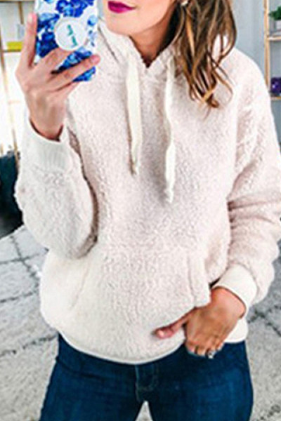 Casual Solid Color Woolen Hooded