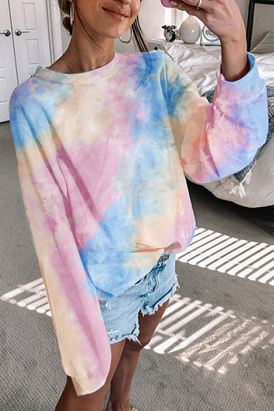 Tie-dye Round Neck Loose Sweatshirt