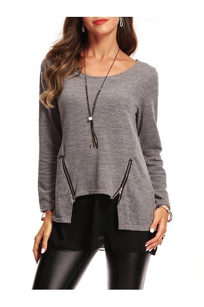 Round Neck Patchwork Zips Long Sleeve T-Shirt