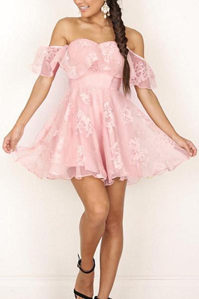 Off Shoulder  Asymmetric Hem  Abstract Print  Short Sleeve Skater Dresses