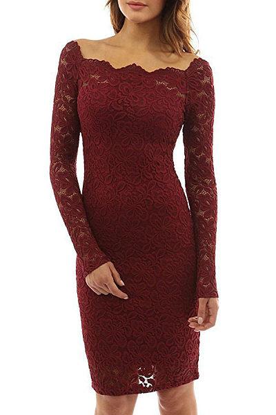 Off Shoulder  Lace Plain Bodycon Dresses