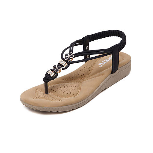 Bohemian  Flat  Faux Leather  Peep Toe  Beach Sandals
