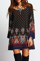 Round Neck Printed Long Sleeve Casual Dresses