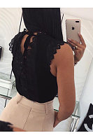 V Neck Lace Patchwork Sleeveless T-Shirts