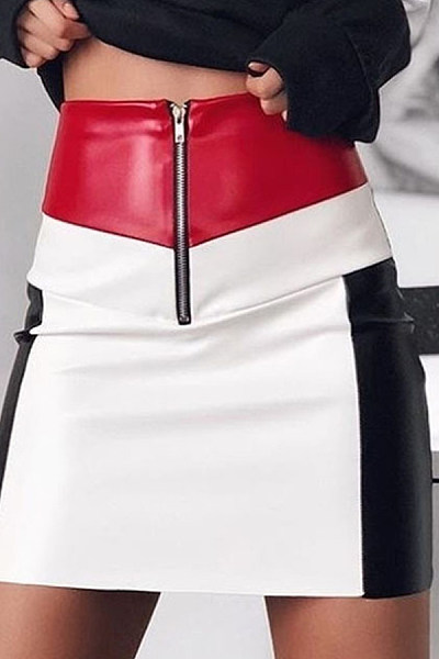 Short  Sheath  Patchwork   Skirts