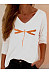 Casual Dragonfly Print V-neck Long Sleeve Top