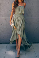 Casual Spaghetti Strap Pure Color High-Low Maxi Dress