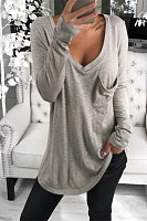 V Neck Long Sleeve Pocket Plain T-shirt