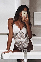 Spaghetti Strap  Decorative Lace  Plain Teddy